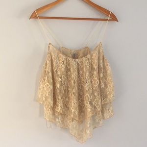Urban Outfitters Gold Metallic Lace Top
